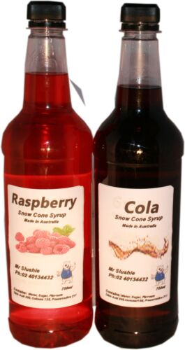 2 x 750 ml snow cone,  shaved ice syrup mix bottles