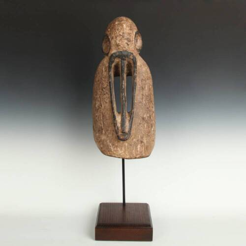 VINTAGE ANCESTOR MASK CARVED PAINTED WOOD DOGON PEOPLE MALI WEST AFRICA 20TH C.