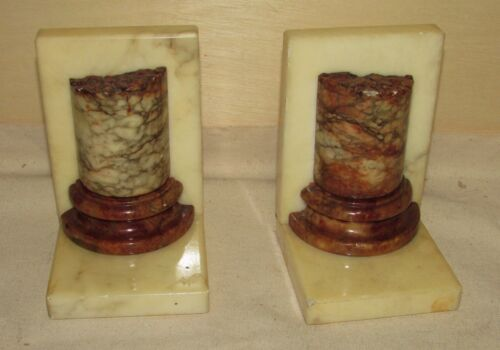 Antique Marble Column Form Bookends in Style of Antiquities Architectural Ruins