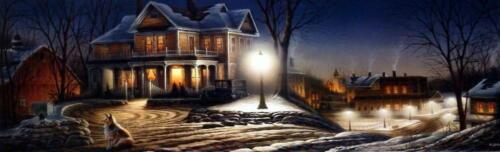 "Terry Redlin "" Lights of Home"" Collie Nostalgic  Print  Image Size 27"" x 8.5"""