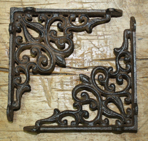 12 Cast Iron Antique Style Heart Brackets, Garden Braces Shelf Bracket