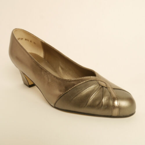 Equity Monique Metailic Court Shoes Wide Fitting E Soft Leather