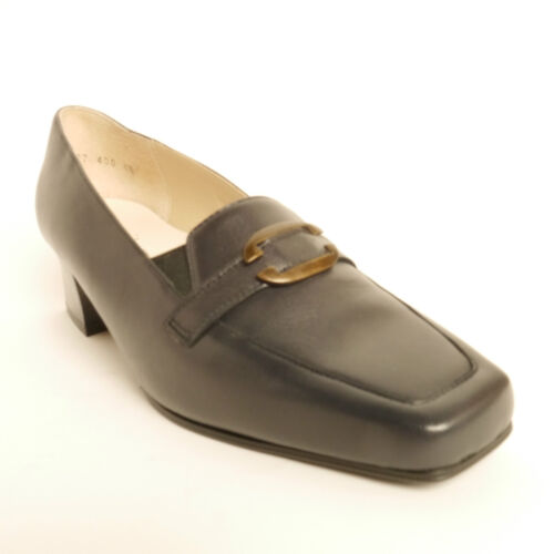 Equity Catherine Navy Leather Low Heel Square Toe E Fitting Low Heel