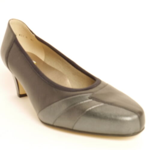 Equity Claire 2 Court Shoe Navy/Pewter  EEE Extra Wide Fitting Leather Uppers