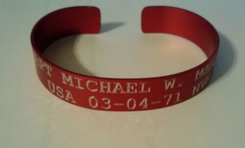 P.O.W. M.I.A. Red Vietnam Bracelets Army, Navy, Marine, Air ForceReproductions - 156445