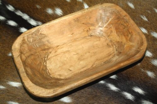 * Carved Wooden Dough Bowl Primitive Wood Trencher Tray Rustic Home Decor 8-10""