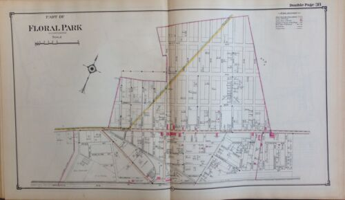 1914 REPRODUCTION ATLAS MAP FLORAL PARK NASSAU LONG ISLAND NEW YORK