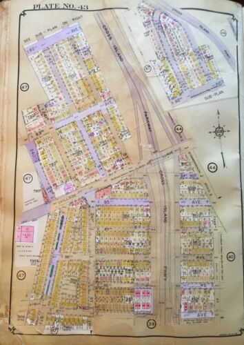 1928 BELLEROSE GLEN OAKS YMCA QUEENS NY 82nd-87 AV & COMMONWEALTH-240 ATLAS MAP