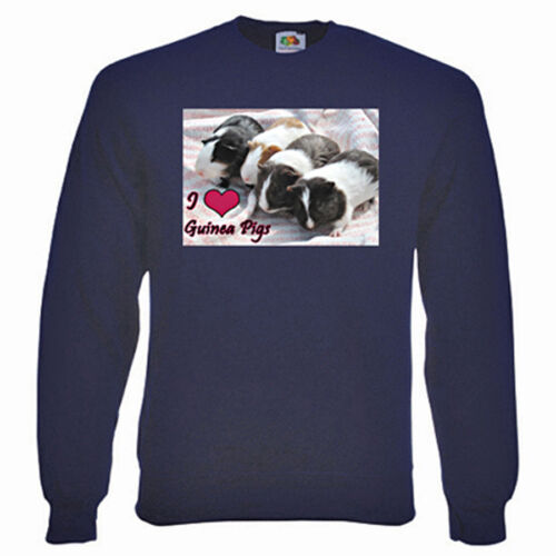 I Love Guinea Pigs Sweatshirt, - Choice of size & colours. fleecy