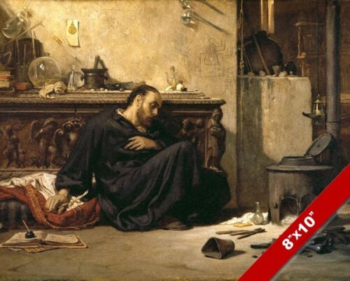 THE DEAD ALCHEMIST SCIENCE ALCHEMY ELIHU VEDDER PAINTING ART REAL CANVAS PRINT