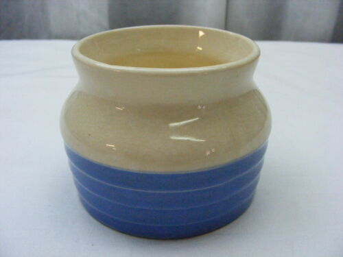 Vintage Universal Pottery Cambridge Bean Pot Blue White *2