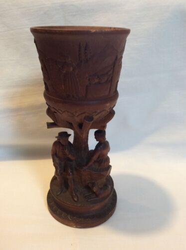 "Antique Black Forest Carved 7.5"" Religious Chalice/Goblet VERY RARE!"