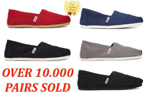 AUTHENTIC Toms CLASSIC CANVAS Slip-On Women's Shoes Red,Black,Ash Navy,Full BLK