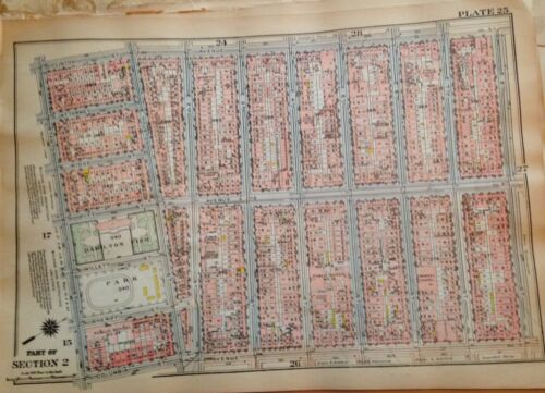 1925 LOWER EAST SIDE NY MANHATTAN NY EAST RIVER - AVENUE D GW BROMLEY ATLAS MAP