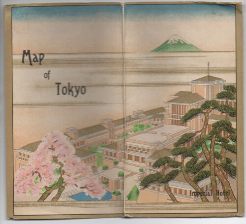 Old Color Pocket Map of Tokyo Japan with Advertising