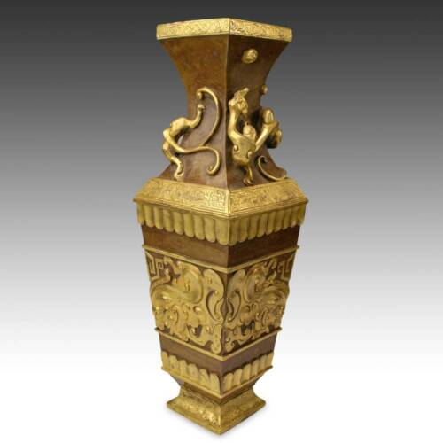 CHINESE ARCHAIC STYLE FANG HU FORM VASE VESSEL CAST AND GILDED COPPER CHINA