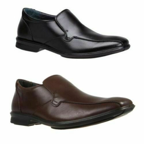 10e02ab2e68 MENS HUSH PUPPIES CAHILL EXTRA WIDE MEN S BLACK LEATHER WORK SLIP ON SHOES