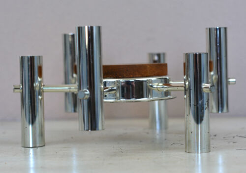 Mid-Century Chrome & Teak  Candle Holder Scandinavian Design