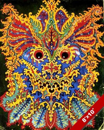 PSYCHEDELIC COLORFUL LOUIS WAIN PAINTING WILD CAT DESIGN ART REAL CANVAS PRINT