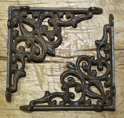 4 Cast Iron Antique Style Heart Brackets, Garden Braces Shelf Bracket