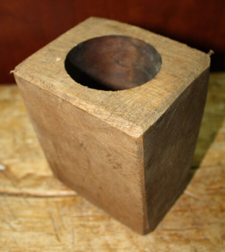 1 Hole Wooden Sugar Mold Wood Candle Holder Primitive Home Decor