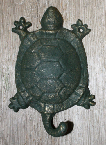 Cast Iron Antique Style Nautical TURTLE Coat Hooks Hat Hook Rack Towel Sea