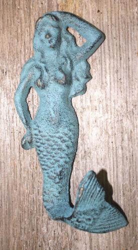 Cast Iron MERMAID Towel Hooks Hat Rack Nautical Swimming Pool Hook BLUE