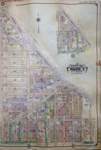 ORIG 1926  FLUSHING QUEENS NEW YORK 20TH ROAD-32ND AVENUE ATLAS MAP
