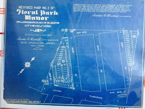 1927 FLORAL PARK MANOR GLEN OAKS QUEENS LONG ISLAND NY ORIGINAL BLUEPRINT 14X18