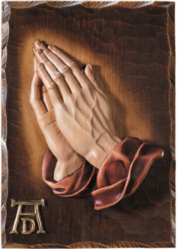 MANI IN PREGHIERA- WOODCARVING PRAYING HANDS- LEGNO SCOLPITO cm. 20x28