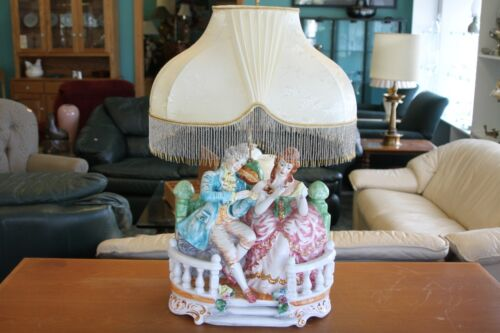Huge Vintage Victorian CAPODIMONTE Porcelain Figural Large Table Lamp + Shade IT