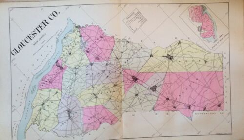 "ORIGINAL 1905 GLOUCESTER COUNTY NEW JERSEY ATLAS MAP 18.5"" x 32"""