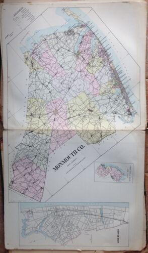"ORIGINAL 1905 MONMOUTH COUNTY NEW JERSEY ATLAS MAP 18.5"" x 32"""