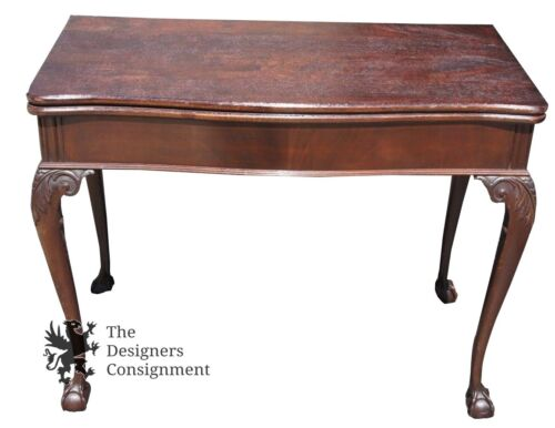 Mid Century Carved Mahogany Expandable Sofa Dining Card Table Chippendale Style