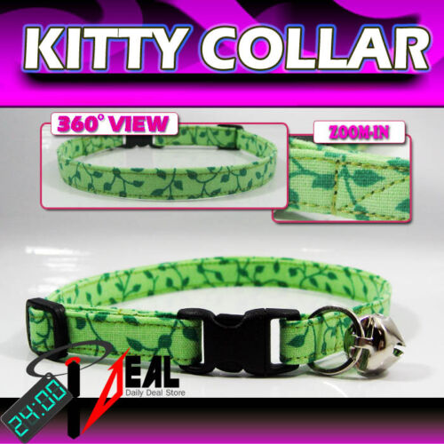 Breakaway SAFETY CAT Collar * LT Green Viney Leave *