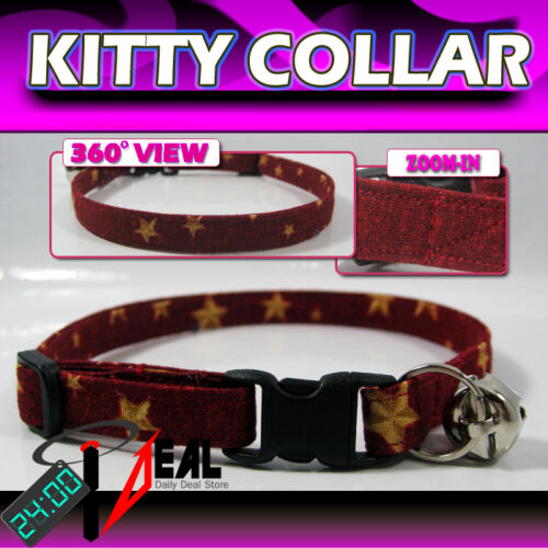 Breakaway SAFETY CAT Collar * Star on the Red Hot! *