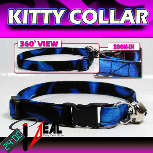 Breakaway SAFETY CAT  Collar  * BURING BLUE FRAMES*