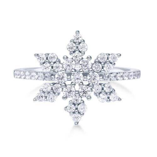 BERRICLE Sterling Silver CZ Snowflake Fashion Right Hand Ring