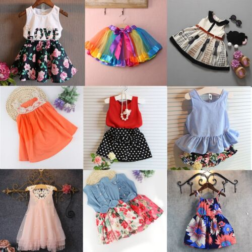 Flower Girls Kids Baby Summer Lace Princess Dress Party Wedding Pageant Dresses