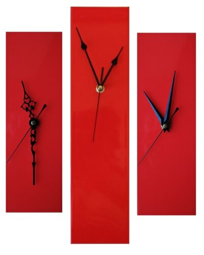 Contemporary Slim Long Wall Clock RED 30cm or 40cm