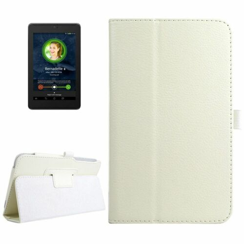 Wallet Case Flip Bag Protection Cover for Tablet Asus Fonepad 7 Fe375cg White