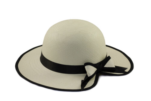 Ladies Heart shaped Panama hat with black band