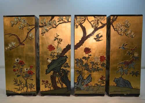Vintage Chinese Pedestals in Gilt Gold & Black Lacquer