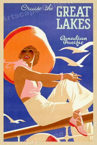 1930s Cruise the Great Lakes Vintage Style Canadian Pacific Travel Poster 24x36