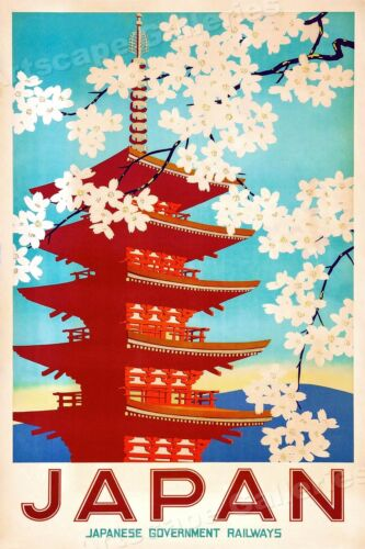 Japanese Cherry Blossoms 1950s Vintage Style Japan Travel Poster - 20x30