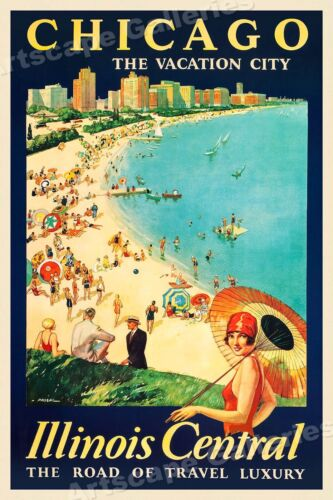 Chicago Lake Michigan 1929 Vintage Style Railroad Travel Poster - 16x24