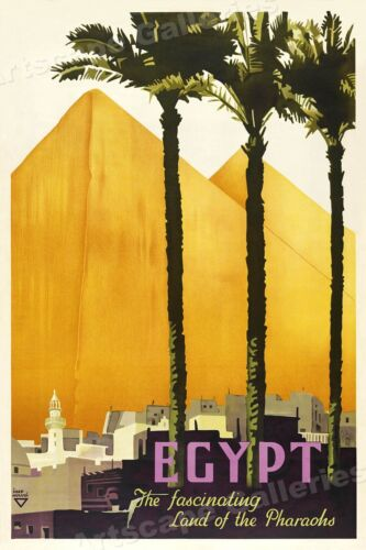 "1930s ""Egypt - Fascinating Pyramids"" Vintage Style Travel Poster - 16x24"