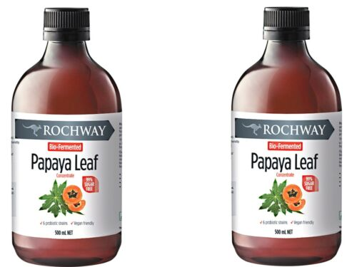 2 x 500ml ROCHWAY Papaya Paw Paw Leaf Extract with Multiply Plus No preservative