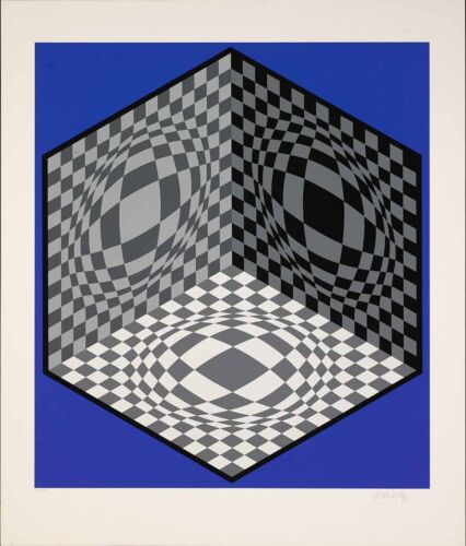Victor Vasarely - Cubic Relationship, hand-signed lithograph