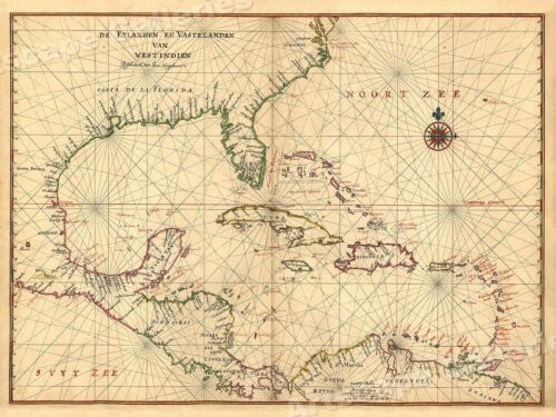 North America West Indies 1639 Vintage Style Early Exploration Map - 24x32